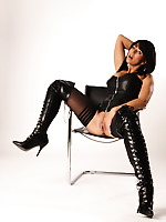 Check out a full leather corset and high boots as this lady wears them with style. Hot and sexy milf will show you a real show as she dances and masturbates